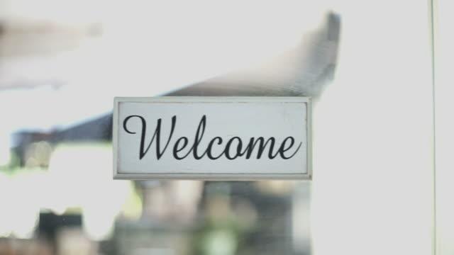 Welcome Sign on the door video