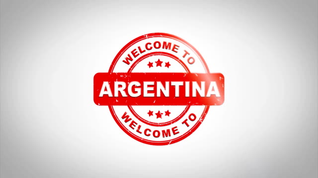 Welcome to ARGENTINA Signed Stamping Text Wooden Stamp Animation. Red Ink on Clean White Paper Surface Background with Green matte Background Included. video