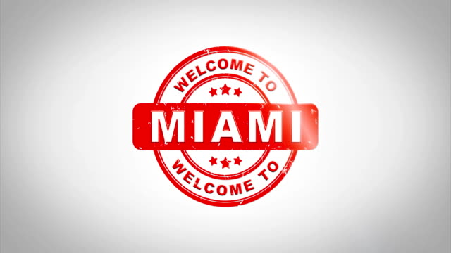 Welcome to MIAMI Signed Stamping Text Wooden Stamp Animation. Red Ink on Clean White Paper Surface Background with Green matte Background Included. Country Name Signed Stamping Text Wooden Stamp Animation. Red Ink on Clean White Paper Surface Background with Green matte Background Included. florida us state stock videos & royalty-free footage