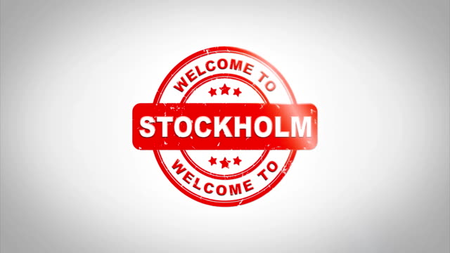 Welcome to STOCKHOLM Signed Stamping Text Wooden Stamp Animation. Red Ink on Clean White Paper Surface Background with Green matte Background Included. Country Name Signed Stamping Text Wooden Stamp Animation. Red Ink on Clean White Paper Surface Background with Green matte Background Included. housing logo stock videos & royalty-free footage