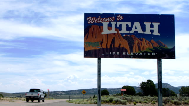 Welcome to Utah Sign A colorful welcome to Utah sign.  Shot in 2.5k. utah stock videos & royalty-free footage