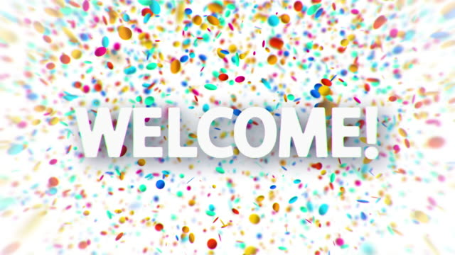 Welcome white sign with falling colorful confetti video