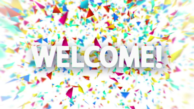 Welcome White Sign With Falling Confetti Animation Stock