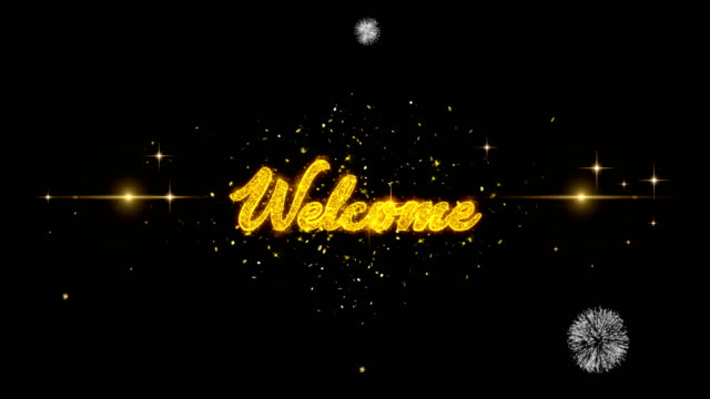 welcome you golden text blinking particles with golden fireworks display - thank you background filmów i materiałów b-roll