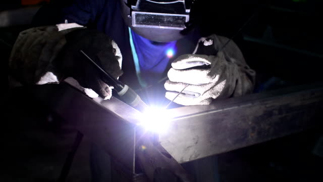 welder with welding sparks welding,	tig welding stainless steel stock videos & royalty-free footage