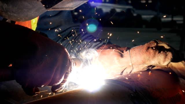 welder working in construction site video