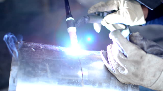 welding pipe Tig welding stainless steel stock videos & royalty-free footage