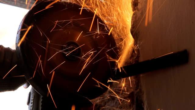 Welding Worker is welding.Canon Eos 5D MarkII, tripod grooved stock videos & royalty-free footage
