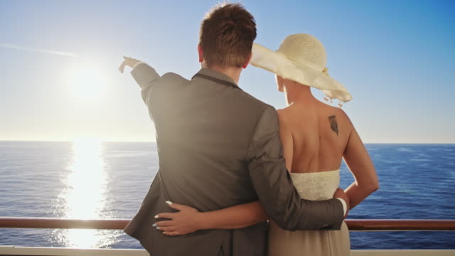 well-dressed couple on a ship - cruise video stock e b–roll