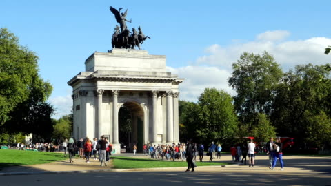 Wellington Arch In London Near Hyde Park (4K/UHD to HD) Real time shot 4K/Ultra-HD ProRes 422 (HQ) downconverted to HD 2015 stock videos & royalty-free footage