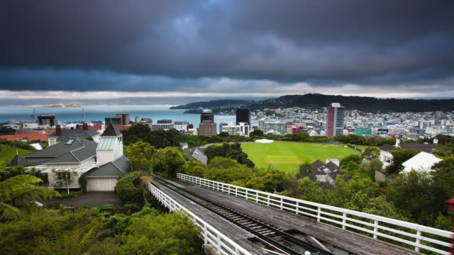 vídeos de stock e filmes b-roll de time lapse: wellington nova zelândia - wellington