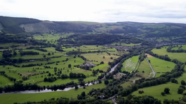 welsh valley aerial view video