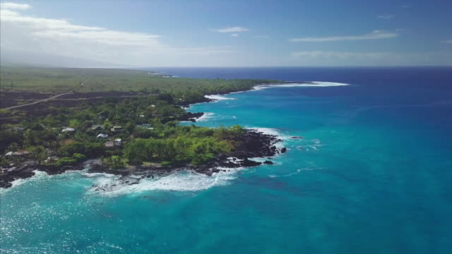 West Coast of the Big Island Aerial view of the rocky lava west coast ofthe Big Island, Hawaii big island hawaii islands stock videos & royalty-free footage