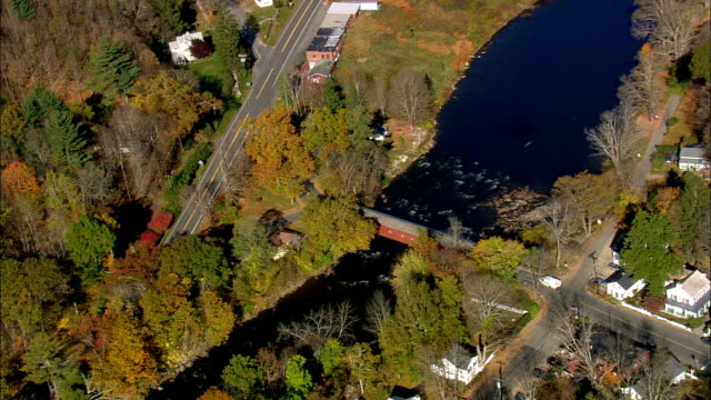 West Cornwall Covered Bridge  - Aerial View - Connecticut,  Litchfield County,  United States This clip was filmed by Skyworks on HDCAM SR 4:4:4 using the Cineflex gimbal. Connecticut,  Litchfield County,   United States connecticut stock videos & royalty-free footage