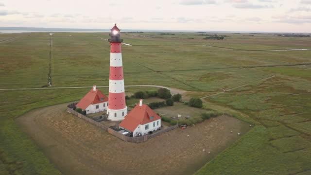 Westerheversand Lighthouse 4K Video Drone Orbiting Northern Friesland Germany