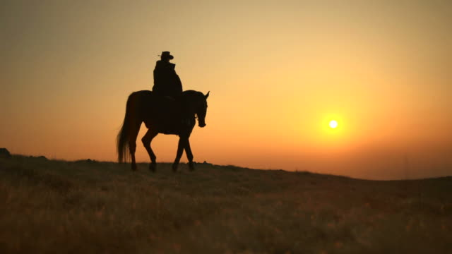 HD: Western Horseback Riding At Sunset video