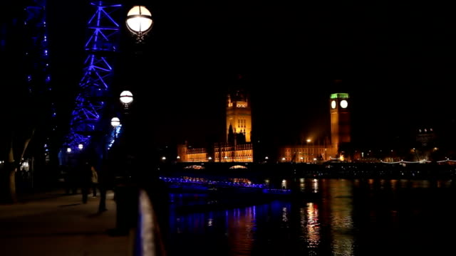Westminster bridge at night video