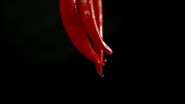 SLO MO Wet chillies Super slow motion shot of wet red chillies isolated on a black background. chili pepper stock videos & royalty-free footage
