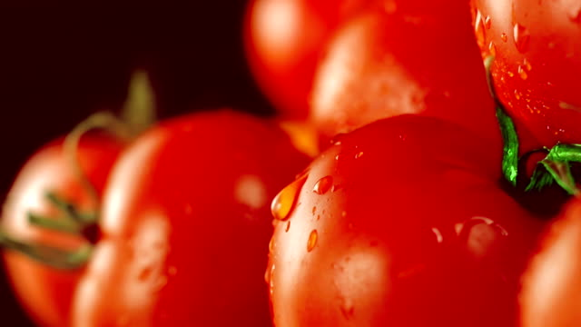 Wet ripe tomatoes video