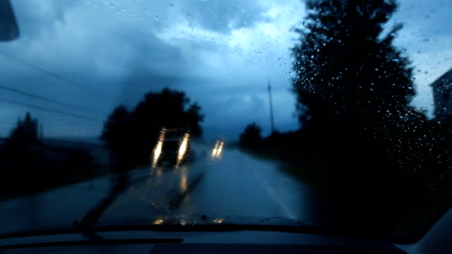 Wet rural road. Two shots. video
