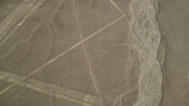 Whale Figure Geoglyph in Nazca Desert Aerial View video