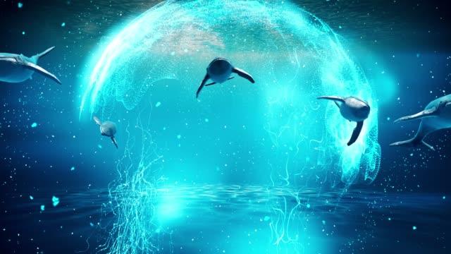 vidéos et rushes de baleines voyageant dans l'eau bleue près de la surface, rendu 3d. - baleine