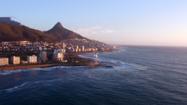 What a view to behold 4k drone footage of the city and sea western cape province stock videos & royalty-free footage