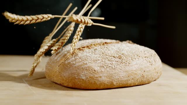 slo mo wheat ears falling on a round bread - węglowodan jedzenie filmów i materiałów b-roll