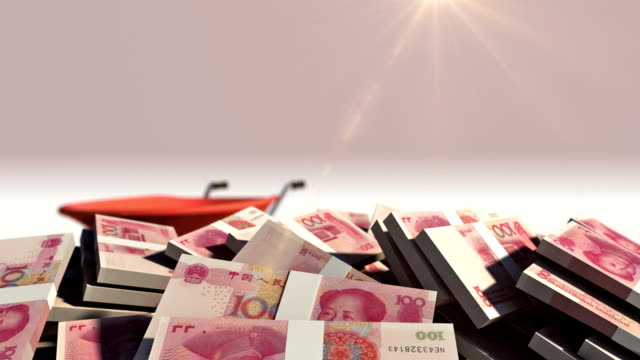 Wheelbarrow Full of Chinese Yuan with Alpha Channel video