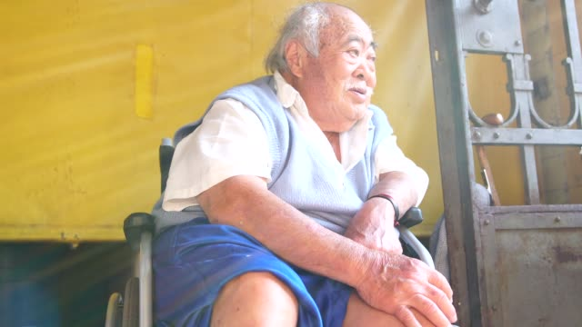 Wheelchair Asian Senior Men Portrait Real People hope concept stock videos & royalty-free footage