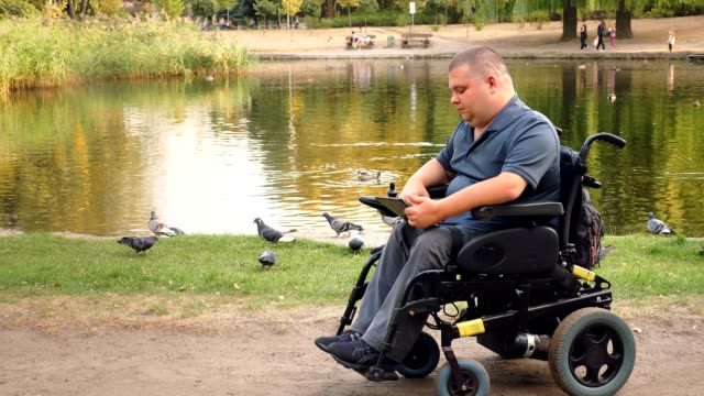 wheelchair man. Handicapped man. young disabled man, sitting in an automated wheelchair and working on digital tablet, in city park, by the lake, on autumn sunny day video