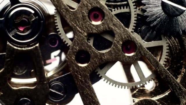 Wheels are in motion in a mechanical watch video