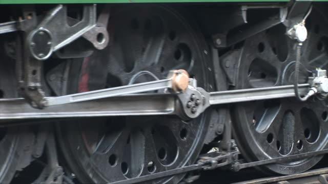 Wheels trun on steam train video