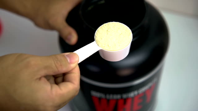 Whey protien close up. video
