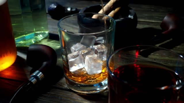 whiskey and tobacco - scotch whisky video stock e b–roll