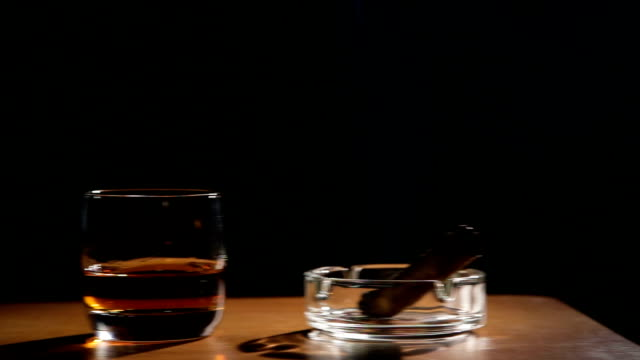 fumare sigari e whisky bevande - brandy video stock e b–roll