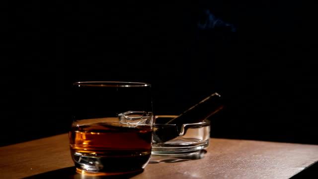fumare sigari e whisky bevande - sigaro video stock e b–roll