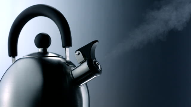 whistling kettle, slow motion - teapot stock videos & royalty-free footage