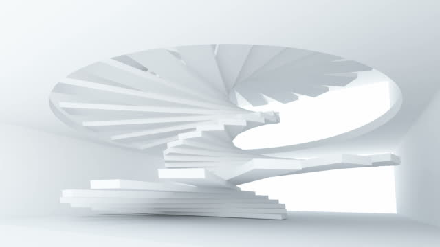 White abstract architecture interior with spiral stairs installation. Full rotation endless loop video