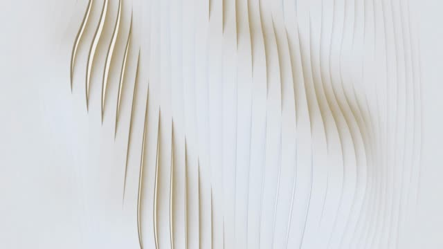 White Abstract Geometric Surface, minimal pattern, random waving motion background . Seamless loop 4K UHD FullHD.