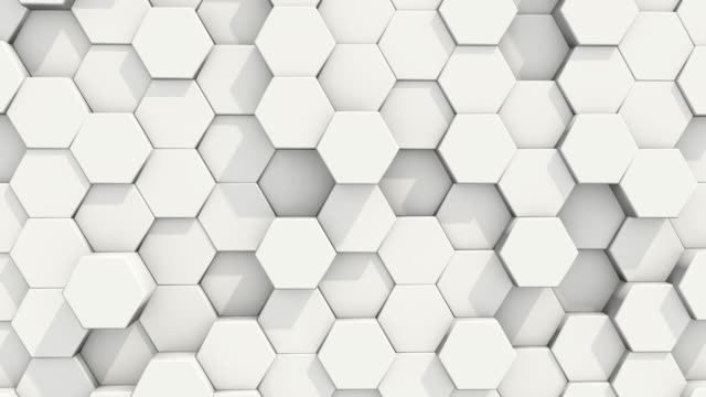 White Abstract Hexagon 3D Seamless Looping Background