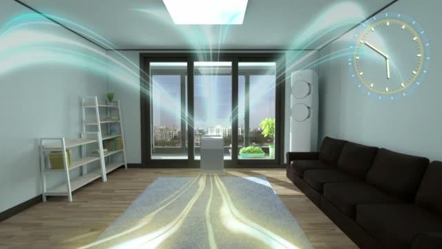 白い空気清浄機が密室で一日中室内空気を新鮮にする - 清らか点の映像素材/bロール