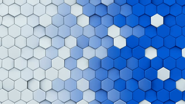 White and blue hexagons seamless loop abstract 3D animation video