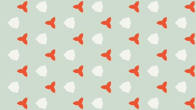 motivo di morphing bianco e arancione su sfondo chiaro - caleidoscopio motivo video stock e b–roll