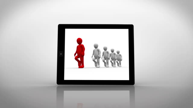 White and red characters walking displayed on tablet pc video