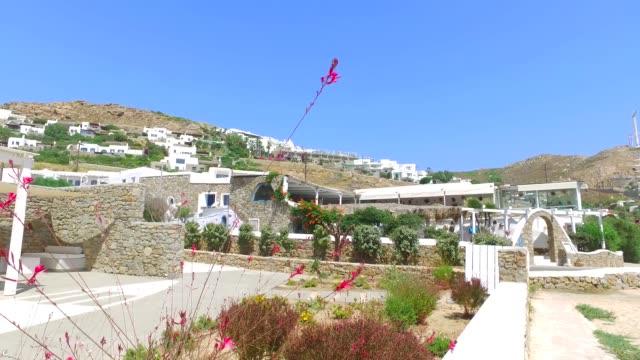 White architectural buildings near 'Elia beach' in Mykonos island/ Greece