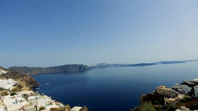White architecture on Santorini island, Greece.  Beautiful landscape with amazing sea view video