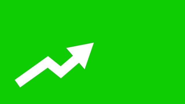 белая стрелка идет вверх анимированный иконон зеленый фон. экономический простой движущийся ароу - arrow стоковые видео и кадры b-roll