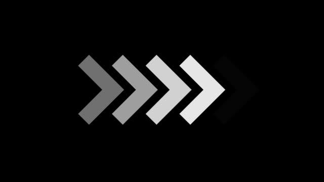 stockvideo's en b-roll-footage met witte pijlen die op zwarte achtergrond worden geanimeerd. stuur de knop in beweging in. - pijlbord