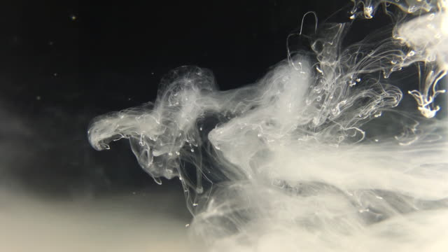 White Atmospheric Ink With Wispy White Clouds video